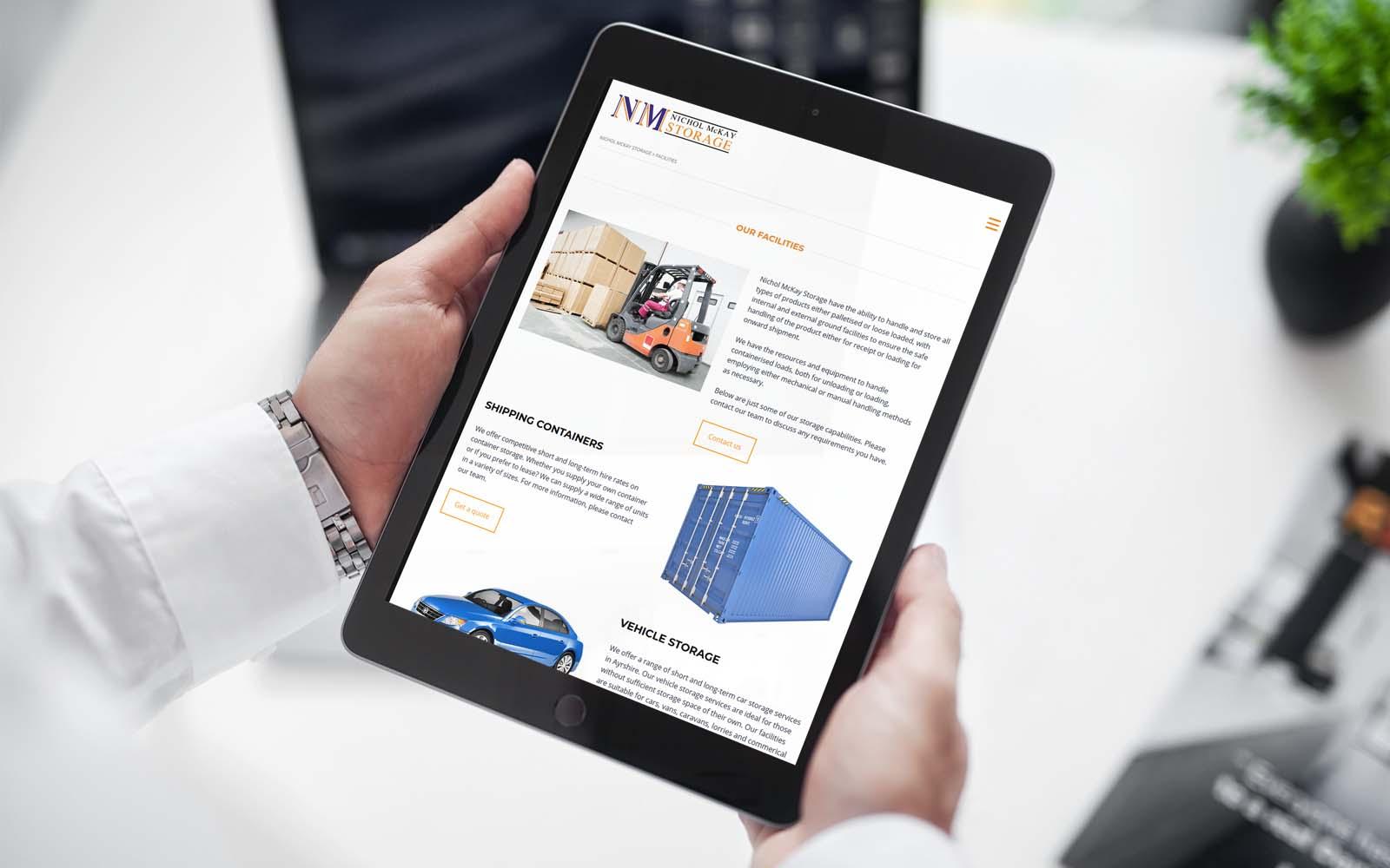 Nichol McKay Storage responsive Website Design Ayrshire
